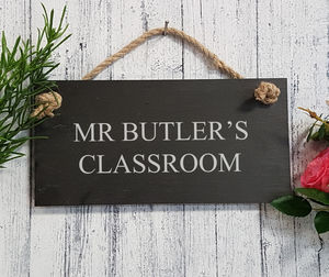 Personalised Engraved Slate Teacher's Sign