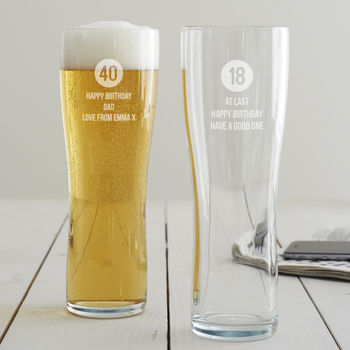 Personalised Special Age Birthday Pint Glass For Him
