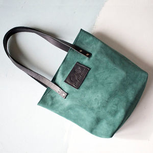 Forest Green Suede Tote Bag - womens