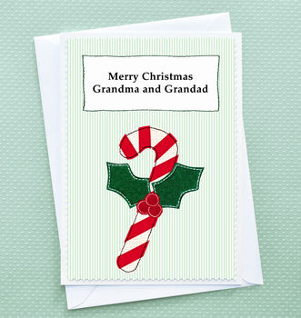 'Christmas Candy Cane' Personalised Christmas Card