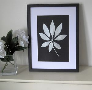 Framed Silver Shefler Botanical Leaf Painting - canvas prints & art
