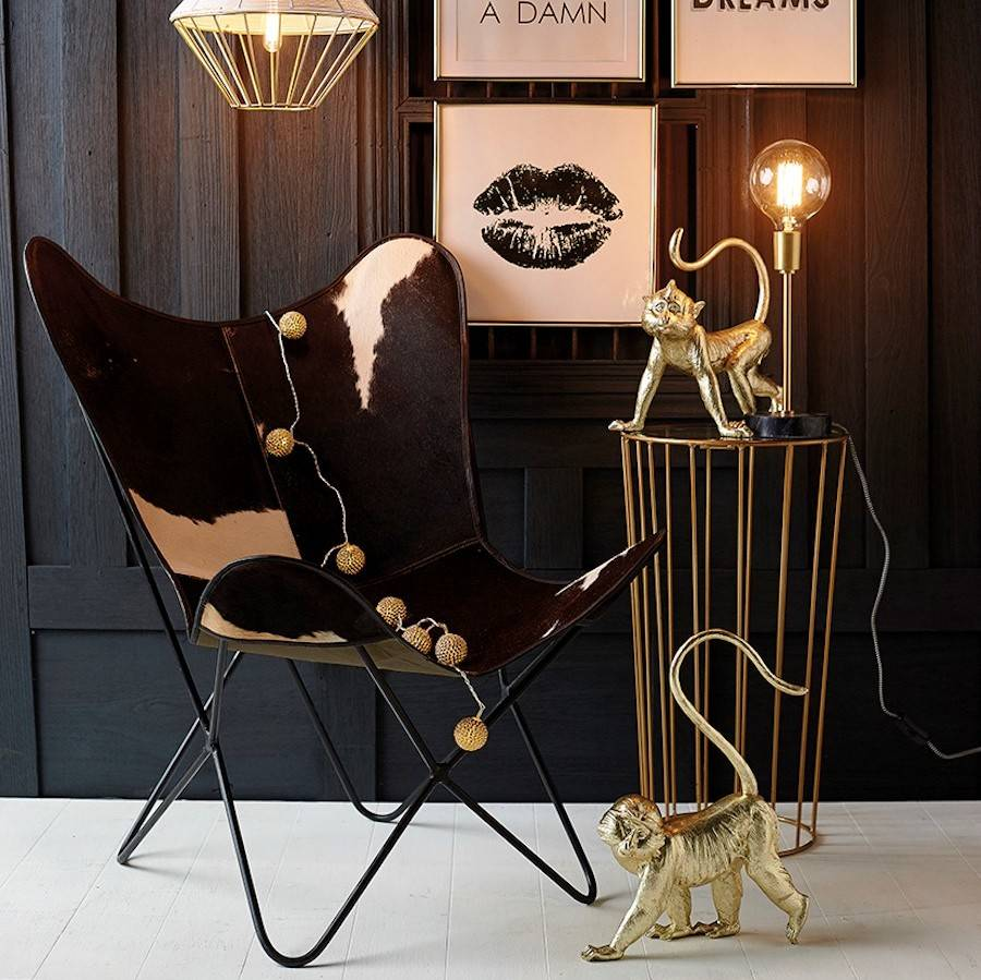 cowhide butterfly chair by ella james. Black Bedroom Furniture Sets. Home Design Ideas