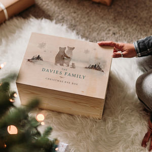 Large Personalised Bear Family Christmas Eve Box
