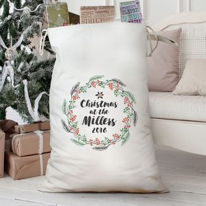Personalised 'Christmas Wreath' Cotton Sack
