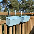 Set Of Two Duck Egg Blue Hanging Balcony Planters
