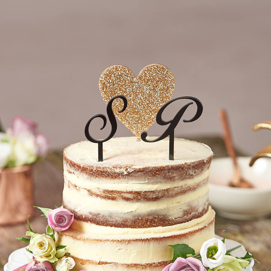 Love Heart With Initials Wedding Cake Topper