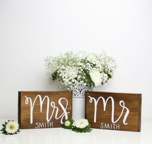 Mr And Mrs Wooden Wedding Table Setting Plaque
