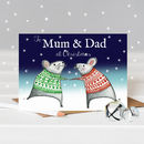 Happy Christmas Mum And Dad Mice Card