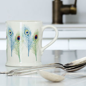 Illustrated Peacock Feather Mug