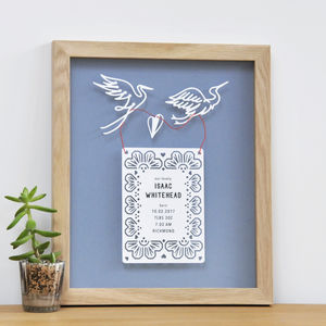 Framed Personalised New Baby Papercut Gift - children's room