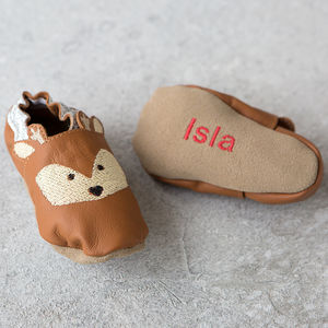 Personalised Metallic Deer Fawn Baby Shoes - clothing