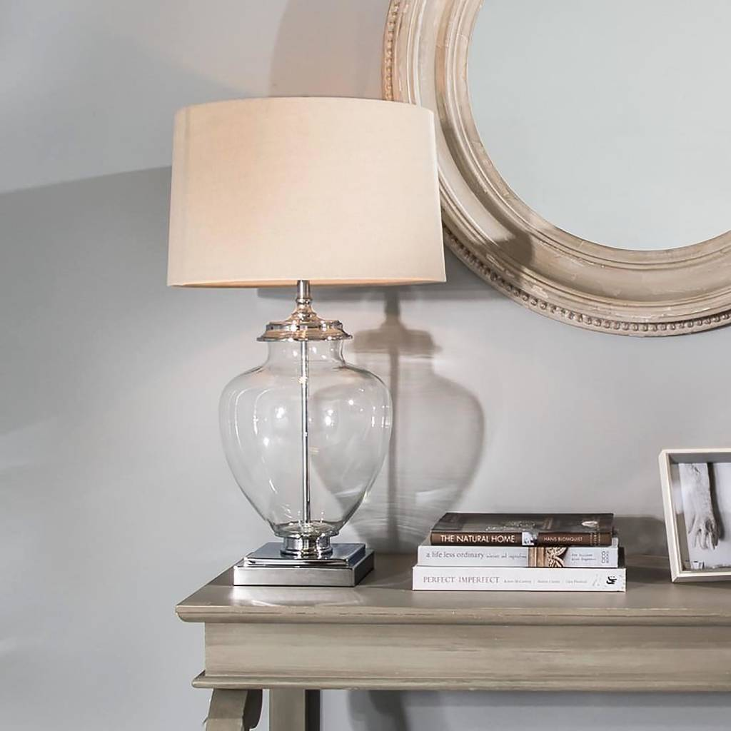 Glass Urn Table Lamp On Square Base With Linen Shade By