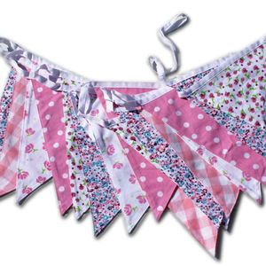 Vintage Floral Cotton Bunting - room decorations