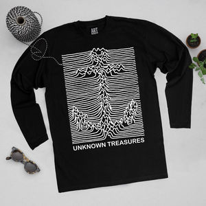 'Unknown Treasures' Long Sleeve Black T Shirt