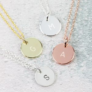 Personalised Initial Disc Charm Necklace - necklaces & pendants