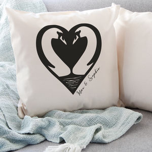 Personalised Swans Love Cushion