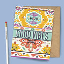 Good Vibas Tribal Pattern Greeting Card