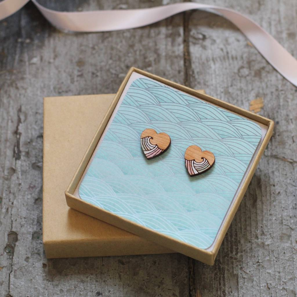 Hand Painted Heart Earrings