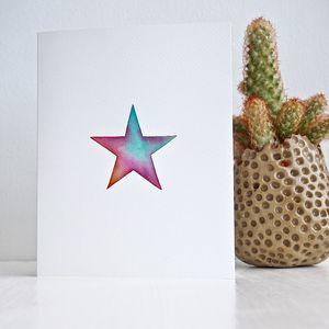 Handmade Watercolour Star Birthday Card - christmas cards