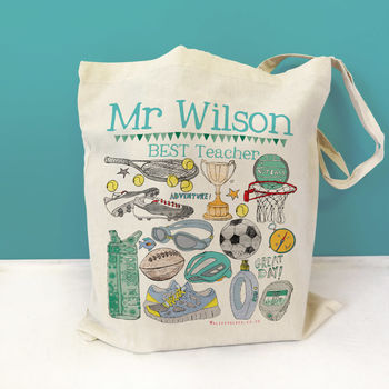 Personalised Sports Teacher Bag - cotton bag with blue wording