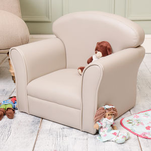 Taupe Grey Children's Faux Leather Armchair - furniture