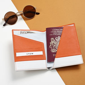 Orange Passport Holder Wallet In Soft Luxury Leather
