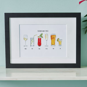 Personalised Favourite Drinks Illustration Print - gifts for families