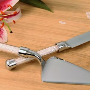 Cake Knife Server Set With Swarovski Crystals - kitchen accessories