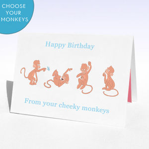Personalised Monkey Birthday Card