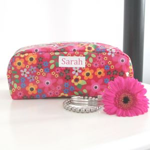Floral Personalised Make Up Bag