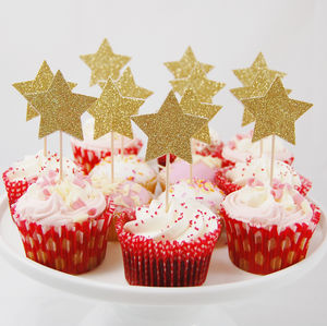 Set Of 12 Glitter Star Cupcake Toppers - cake toppers & decorations