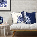 Contrasting Blue Octopus Nautical Cushions