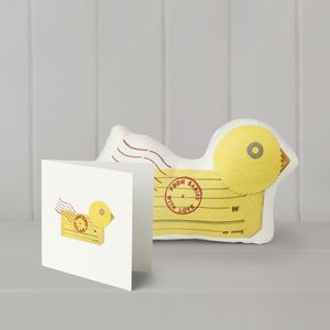 Duck Organic Soft Toy And Matching Greetings Card - soft toys & dolls