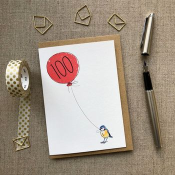 Personalised 100th Birthday Card Blue Tit Design