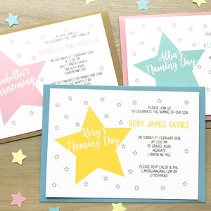 Personalised Christening Or Naming Day Star Invitations - christening invitations