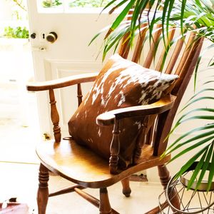 Brown And White Natural Cowhide Cushion Cover