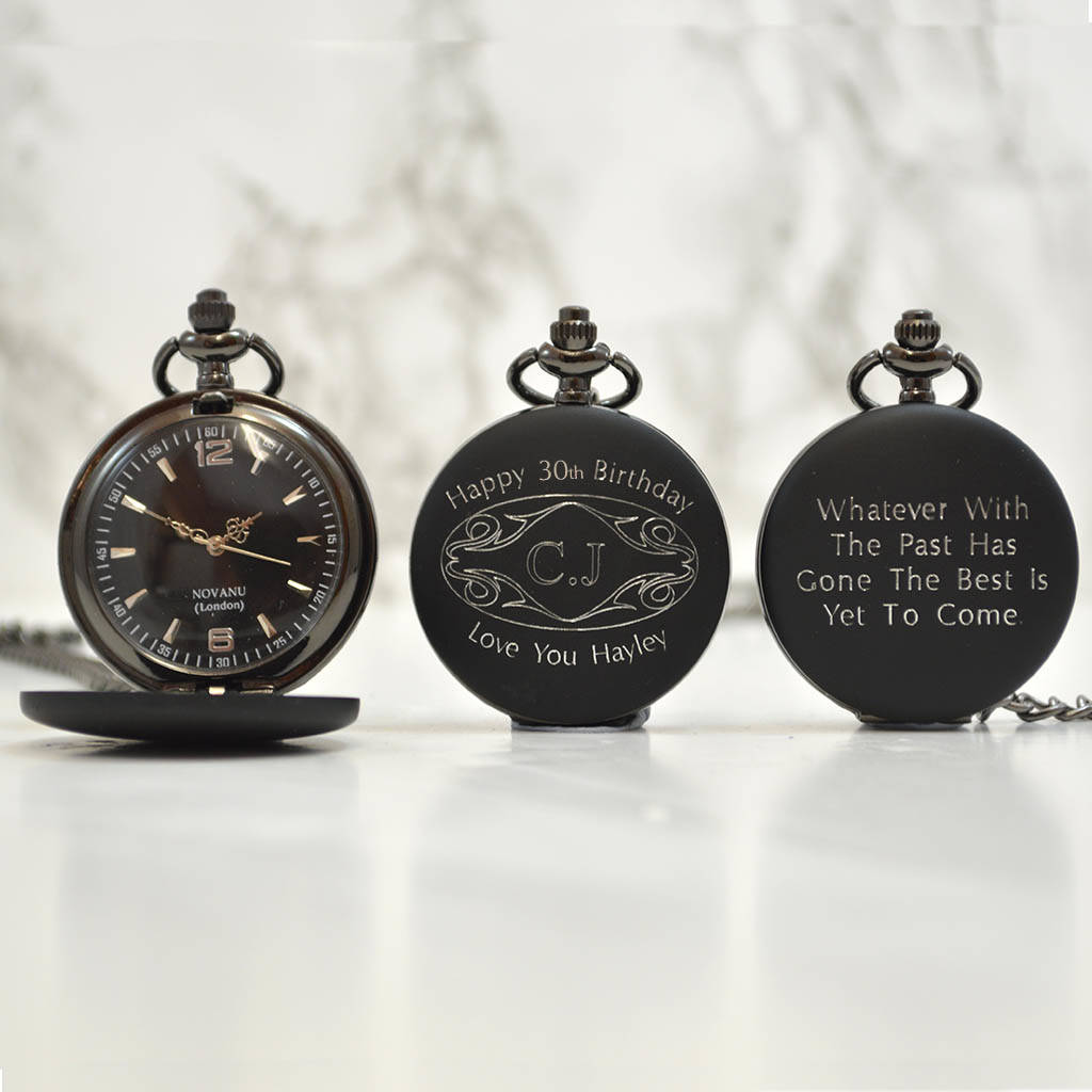 Personalised 30th Birthday Gift Pocket Watch Initials