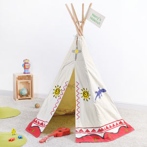 Canvas Tipi Play Tent And Personalised Flag - tents, dens & teepees