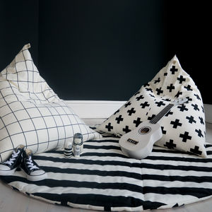 Monochrome Print Pyramid Bean Bag - bedroom