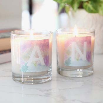 Personalised Watercolour Initial Scented Candle