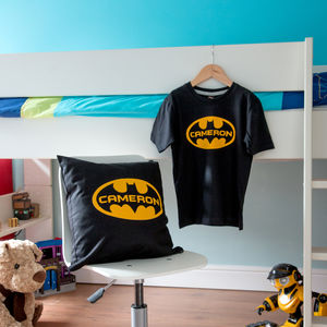 Personalised Batman Cushion And T Shirt Set - t-shirts & tops