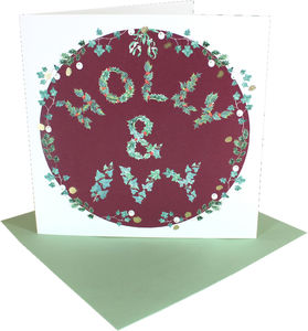 Holly And Ivy Square Christmas Card In Red Pack Of Six - cards