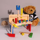 Small Personalised Wooden Tool Bench For Kids