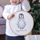 Personalised Penguin Christmas Wall Hanging Hoop