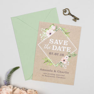 Eloise Botanical Geometric Save The Date Card - invitations