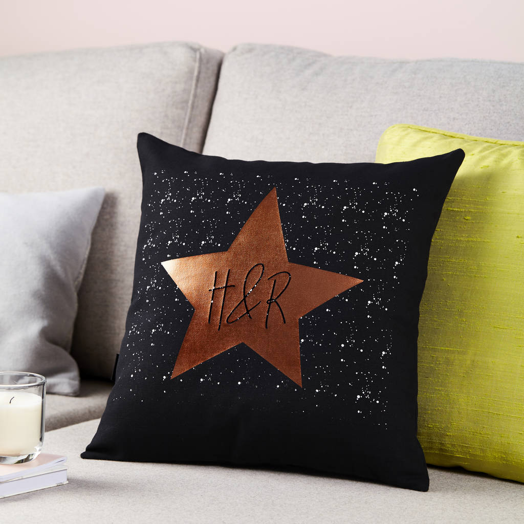 Personalised Copper Heart Cushion