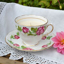 Rose Bud China Vintage Teacup And Saucer Candle