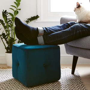 Milan Buttoned Cube - footstools & pouffes