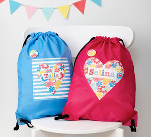 Girls Personalised Floral Heart Waterproof Kit Bag