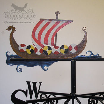Hand Painted Viking Long Boat Weathervane